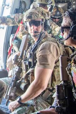 Payne in uniform, combat environment