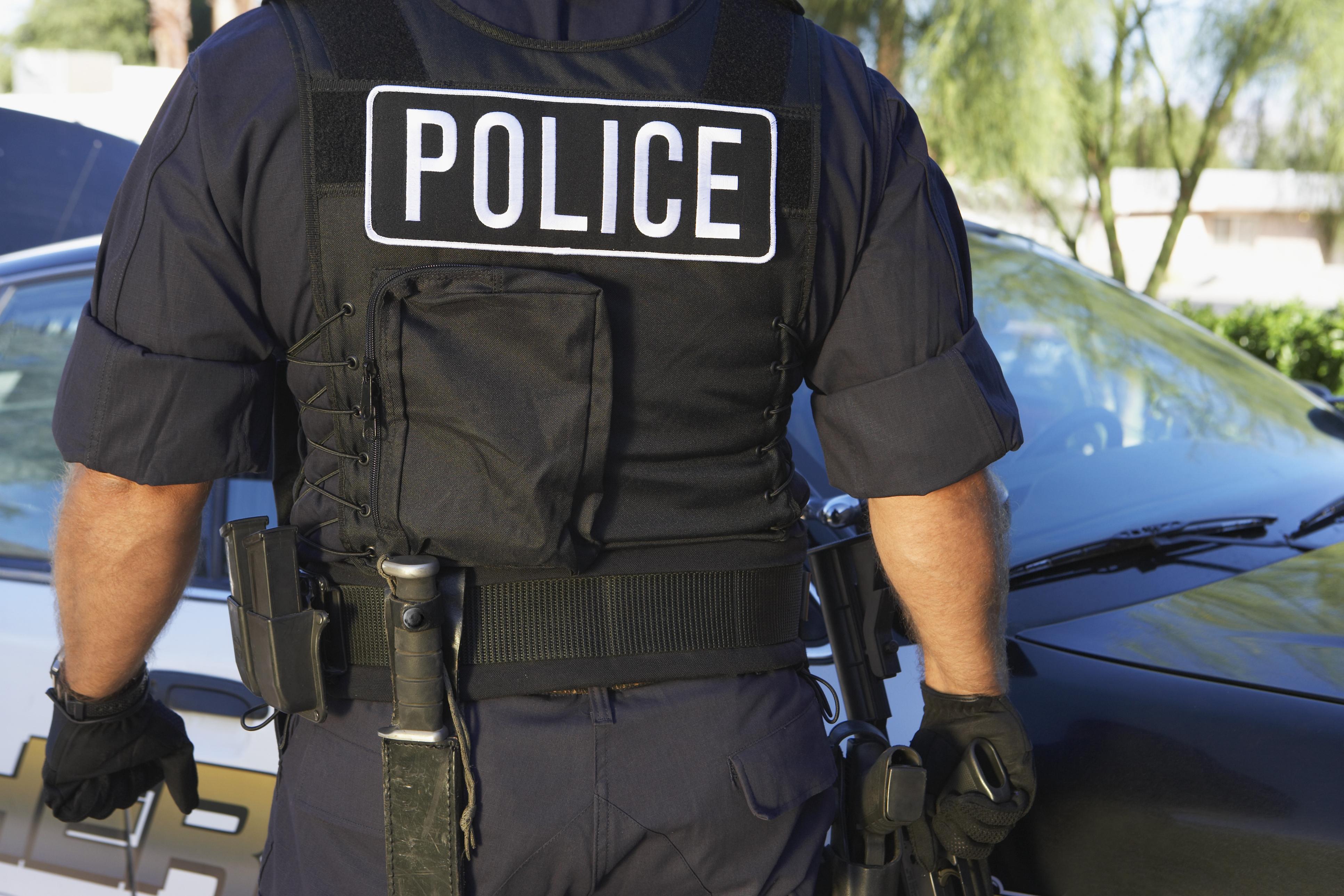 Back of cop's vest