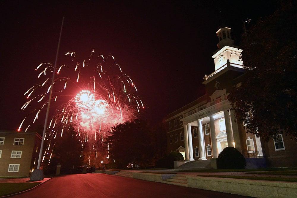 2019 Homecoming fireworks outside Jackman Hall