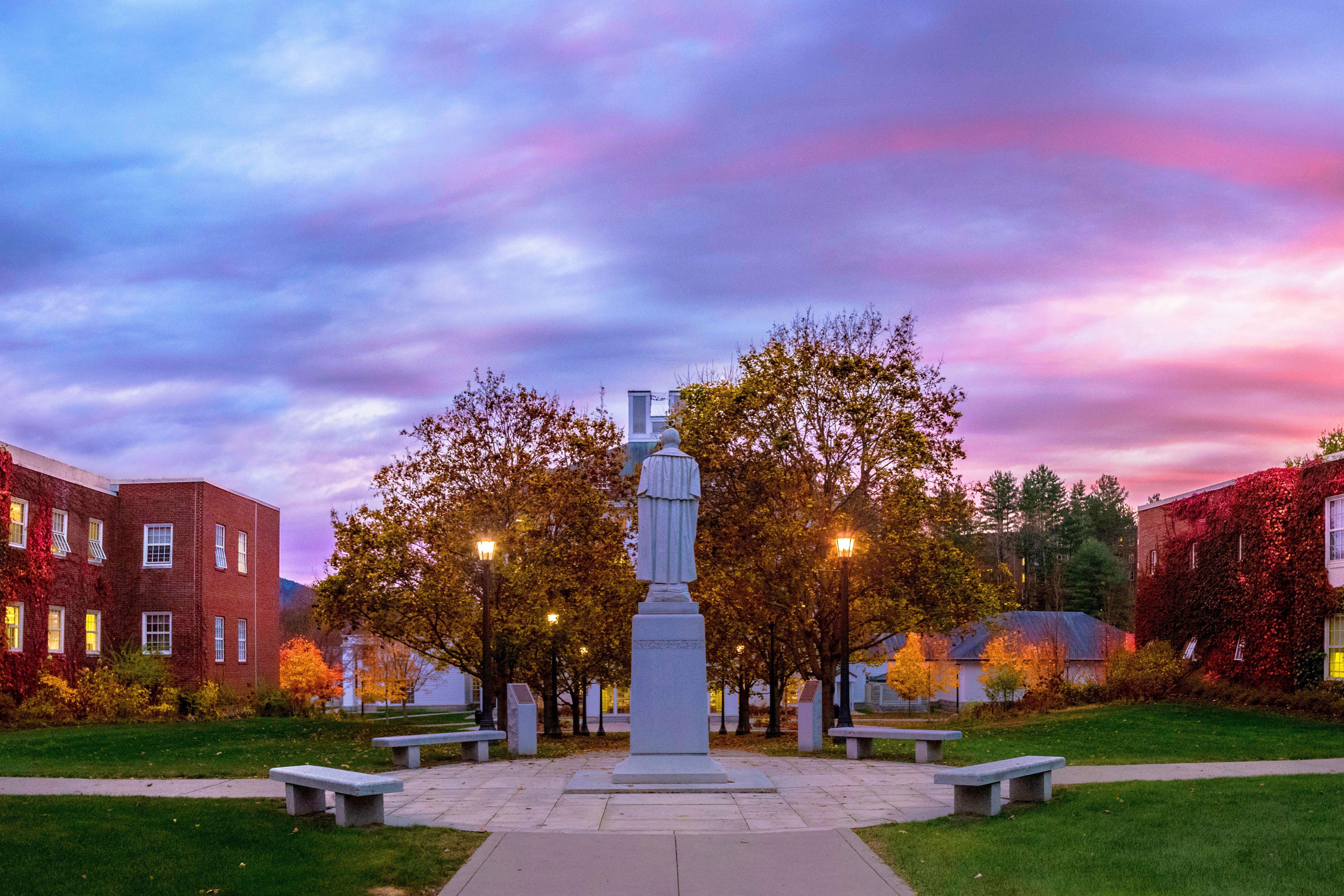 partridge statue - norwich campus - sunset