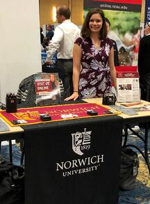 Admissions counselor Sarah DeBouter at Fort Bragg Education and Job fair - October 2019