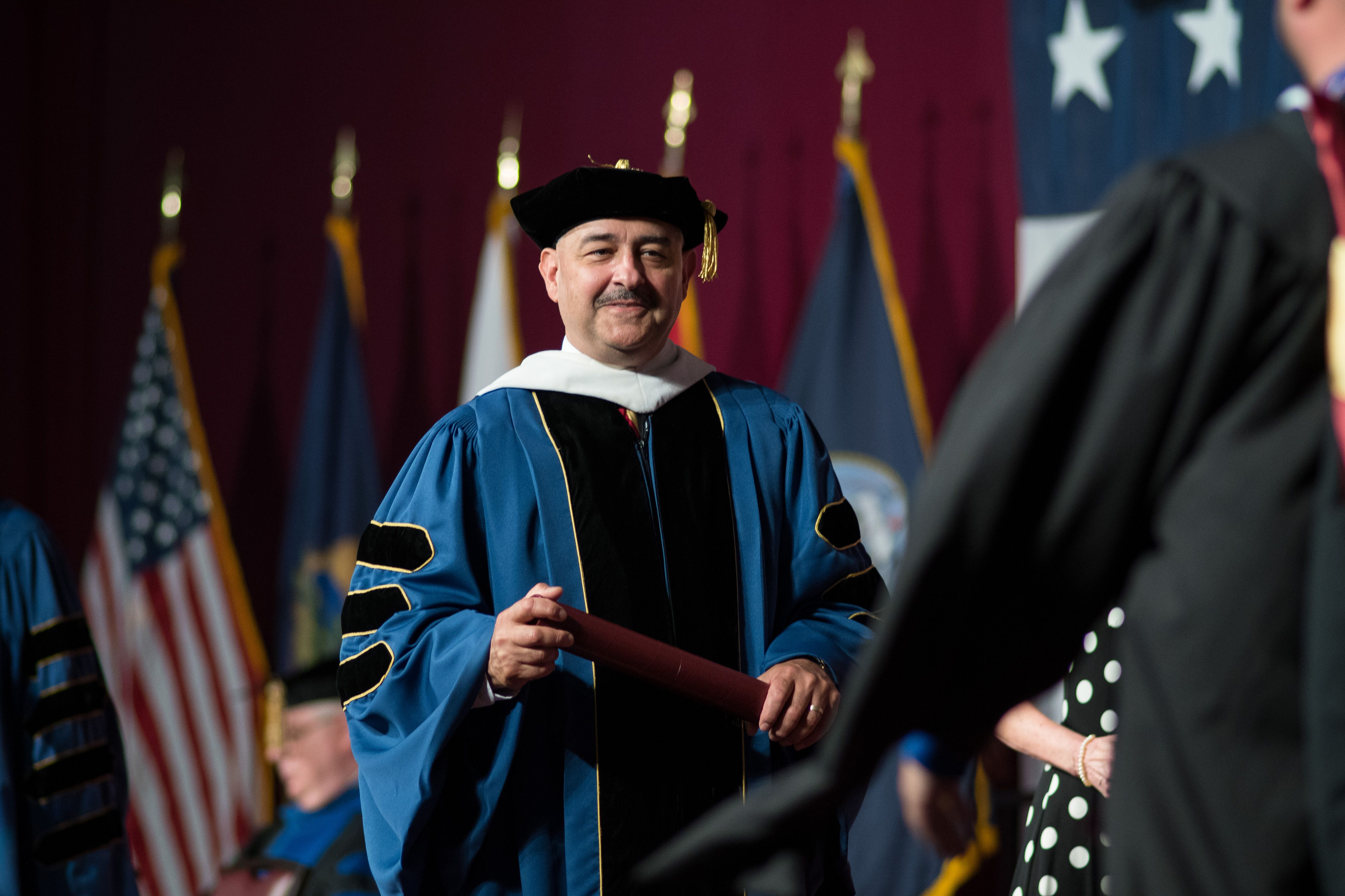 CGCS dean Bill Clements in regalia; 2019 Commencement